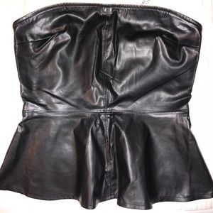 Strapless forever 21 leather top